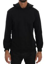 TSH1502 Daniele Alessandrini Black Sport Casual Hooded Cotton Sweater