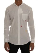 TSH1393 Daniele Alessandrini White Cotton Embroidered Casual Shirt