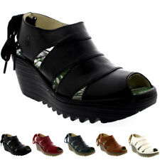 Womens Fly London Yown Rug Leather Lace Up Peep Toe Wedge Heel Sandals UK 3-9