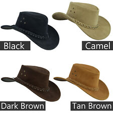 Australian Western style Cowboy Real Leather Bush hat with Chin Strap