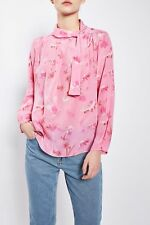 Topshop BOUTIQUE Pure Silk He Loves Me Floral Print Blouse Top UK 8 10 EU 36 38
