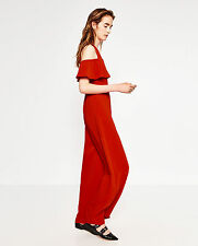ZARA Intense Red Frilled Open Off The Shoulder Long Flowing Jumpsuit S LAST ONE!