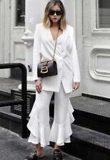 Zara SS17 Frilled Flare Hem White Culottes Cropped Trousers XS S M BNWT