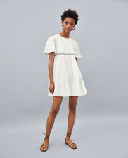 ZARA SS18 White Cotton Romantic Lace Embroidered A Line Dress S Small