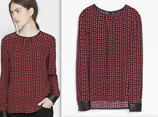 ZARA WOMAN BEAUTIFUL PRINTED BLOUSE OP WITH  FAUX LEATHER TRIM NEW