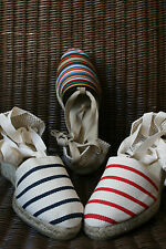 Real Espadrilles high heel of the country Basque Stripes - Mauléon