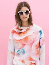 ZARA BLOGGERS FLORAL PRINT NEOPRENE  SWEAT JACKET TOP BLOUSE NEW