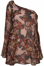 TOPSHOP  BEAUTIFUL ONE SHOULDER PRINTED CHIFFON TOP SHORT TUNIC UK 12 NEW