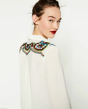 ZARA  EMBROIDERED EMBELLISHED SEQUINNED SHOULDER SHIRT TOP BLOUSE M AND L NEW