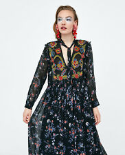 ZARA SS18 Long Flowing Embroidered Beaded And Printed Floral Frill Dress S M