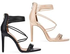Womens Ladies Barely There Stiletto High Heel Strappy Party Sandals Shoes Size