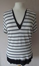 M&S collection - size 16 - WHITE ivory black stripes print LADIES TOP - BNWT