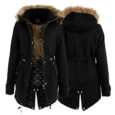 LADIES DESIGNER STYLE FUR LINED PARKA WARM JACKET HOODED BLACK WINTER COAT