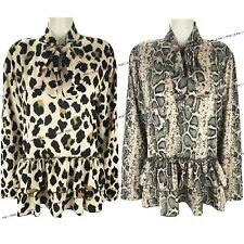 Womens Ladies Animal Snake Leopard Print Tie Up Pussy Bow Blouse Shirt Smock Top