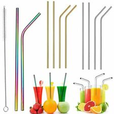 4x Reusable Rainbow Stainless Steel Metal Drinking Straws Cleaning Brush Bar Set