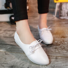 Womens Leather Oxfords Pointy Toe Preppy Moccasins Casual Flats Lace UP Shoes