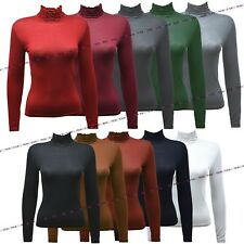 Womens Ladies Long Sleeve High Neck Polo Neck Ruffle Frill T Shirt Top Shirt
