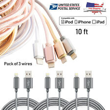 4Pack 10ft Lightning Charger USB Cable Nylon Braided For iPhone 8 7 plus xr xs