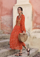 ZARA SS18 Red Long Flowing Floral Print Dress With Gold Embroidered Bib Front M