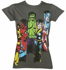 Official Women's Charcoal Marvel Superheroes Panel T-Shirt