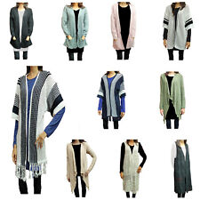 Womens Ladies Long Sleeve Sleeveless knitted Pocket Long Cardigan Top
