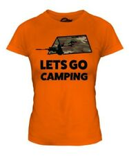 Lets Go Camping Mujer Camiseta Top Regalo Gaming