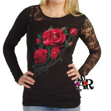 SPIRAL DIRECT DEATH ROSE LONG SLEEVE T SHIRT TOP  BLACK GOTHIC  ALTERNATIVE