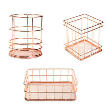 Rose Gold Metal Desktop Pen Pencil Holder Office Home Desk Stationery Organizer
