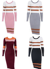 Ladies Bold Colour Contrast Stripe Knitted Longsleeve Dress.One size Fits UK8-14