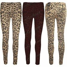 Womens Ladies Animal Leopard Stretch Super Skinny Fit Jeans Trousers Pants Size