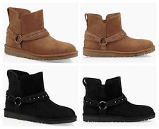 New UGG BNIB £140 Suede Leather Women's Ankle Biker Unlined Shoes Boots
