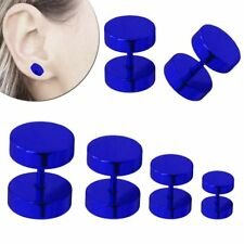 Ohrstecker Blau Fakeplugs Fake-Tunnel Ohrring 6 8 10 12 14 mm Edelstahl Piercing
