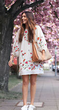 ZARA Premium Mulberry Silk Cotton Blend Floral Bird Embroidered Dress XS S M L