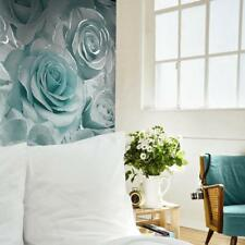 Aqua Rose Wallpaper Madison Glitter Blue and Grey Floral Design by Muriva 139523