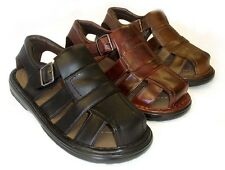 NEW MENS LEATHER STRAP FISHERMAN COMFORT SANDALS CLOSED TOE 3 COLORS
