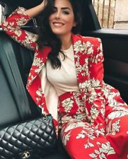 Zara SS18 SUIT SET Red Floral Print Blazer Jacket Flowing Palazzo Trouser XS S M