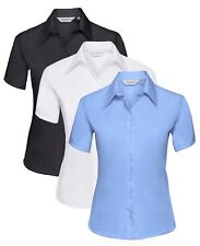 Ladies Womens BLUE BLACK WHITE Short Sleeve Button Collar Non-Iron Shirt Blouse