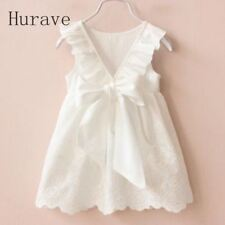 Hurave Robes Fille Solide Blanche Robes Fille Style Été Enfants Vêtements Dr