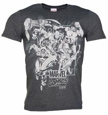 Official Men's Dark Heather Marvel Comics Band Of Heroes T-Shirt