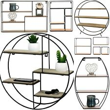 Retro Vintage Wall Unit Wood Industrial Style Metal Shelf Rack Storage Display