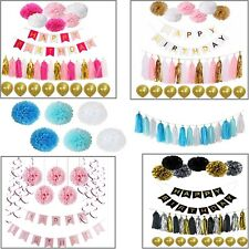 Birthday Banner Set Paper Tassel Pompom Balloons Baby Party Table Hanging Decor