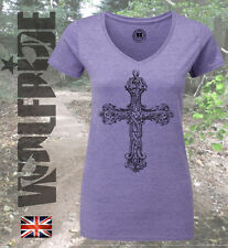 Ladies v-neck, ornate cross, fashion, Celtic, slim, alternative, tattoo