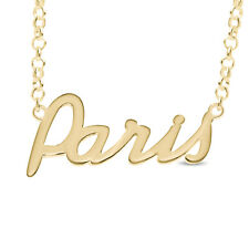 Paris Nameplate Necklace Gold / Rose Gold Plated 925 Sterling Silver Pendant