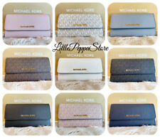 NWT MICHAEL KORS JET SET TRAVEL PVC OR LEATHER LARGE TRIFOLD WALLET IN VARIOUS