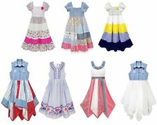 Girls Print Lace Floral Print Summer Dresses Ages 2 - 11 Years