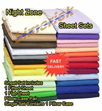 Graceful Plain Dyed Sheet Sets Easycare Polycotton Fitted Flat Sheets Pillowcase