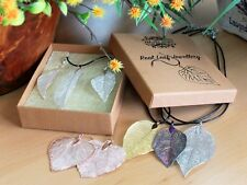 Brand new real leaf jewelry, 9 sets to pick from. 10 necklaces, 9 earrings,