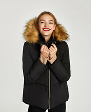 Zara Quilted Duck Down Feather Puffer Jacket Coat With Textured Fur Hood XXL