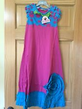 NEW Jelly The Pug  Pink and Blue Dots and Ruffle Girl Maxi Dress Sz 7