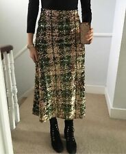 Zara AW18 Limited Edition Long Sequinned Midi Skirt Green S M BNWT